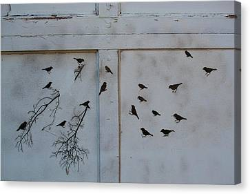 Birds On The Garage Canvas Print