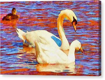 Birds On The Lake Canvas Print by Jeff Kolker