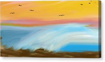 Meshed Canvas Print - Birds Over The Ocean by Constance Carlsen