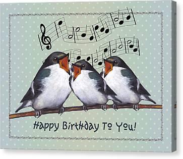 Birds Singing Birthday Card Canvas Print by Joyce Geleynse