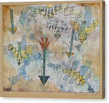 Birds Swooping Down And Arrows Canvas Print by Paul Klee