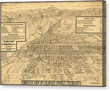 Birdseye Map Of Colorado Springs - 1909 Canvas Print by Eric Glaser