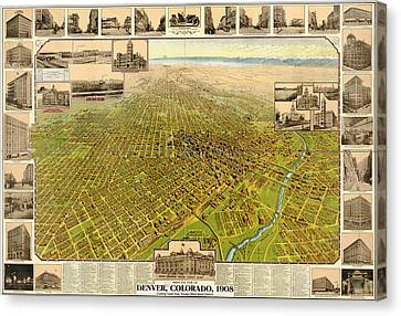 Birdseye Map Of Denver Colorado - 1908 Canvas Print by Eric Glaser