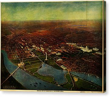 Birdseye View Of Washington 1916 Canvas Print by Celestial Images