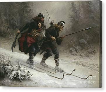 Subject Canvas Print - Birkebeinerne The Kings Soldiers by Knud Bergslien