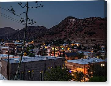 Canvas Print featuring the photograph Bisbee At Night by Beverly Parks