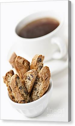 Biscotti And Coffee Canvas Print by Elena Elisseeva