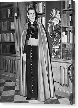 Bishop Fulton J. Sheen Canvas Print by Fred Palumbo