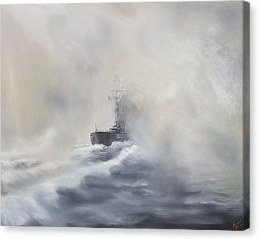 Grey Clouds Canvas Print - Bismarck Evades Her Pursuers by Vincent Alexander Booth