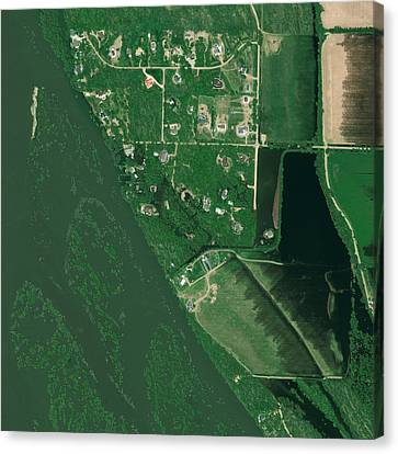 Bismarck Flooding, Usa, Satellite Image Canvas Print by Science Photo Library