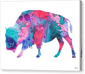 Bison 2 Canvas Print by Watercolor Girl