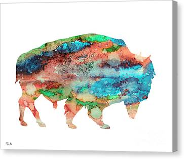 Bison 3 Canvas Print by Watercolor Girl