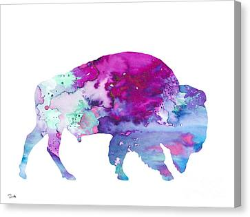 Bison 4 Canvas Print by Watercolor Girl