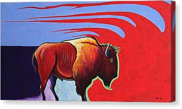 Bison In The Winds Of Change Canvas Print by Joe  Triano