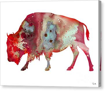 Bison Canvas Print - Bison by Watercolor Girl