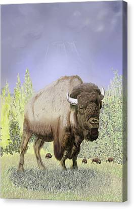 Canvas Print featuring the digital art Bison On The Range by Thomas J Herring