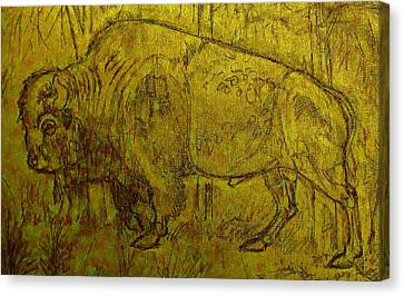 Canvas Print featuring the drawing Golden  Buffalo by Larry Campbell