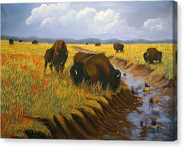 Canvas Print featuring the painting Bison Still Roam The Plains by J Cheyenne Howell
