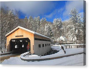 Bissell Covered Bridge In Winter Canvas Print by John Burk