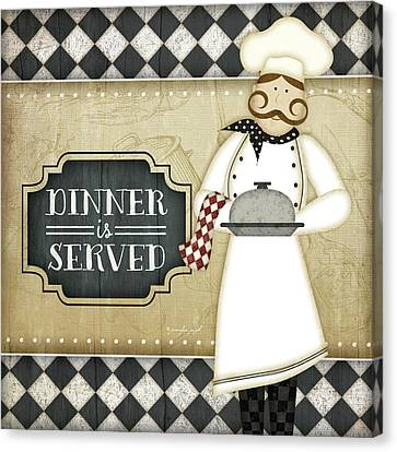 Bistro Chef Dinner Is Served Canvas Print by Jennifer Pugh