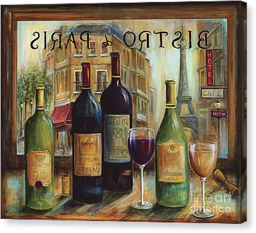 Wine Scene Canvas Print - Bistro De Paris by Marilyn Dunlap