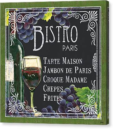 Wine Bottle Canvas Print - Bistro Paris by Debbie DeWitt