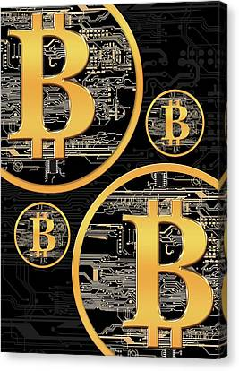 Bitcoin Logo On Circuit Board Canvas Print
