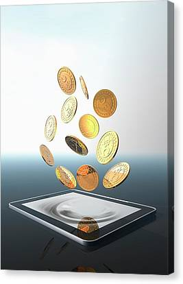 Bitcoins And Digital Tablet Canvas Print by Victor Habbick Visions