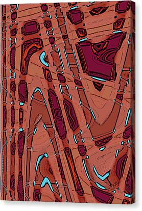 Turquoise Stained Glass Canvas Print - Bits And Pieces - Warm by Ben and Raisa Gertsberg