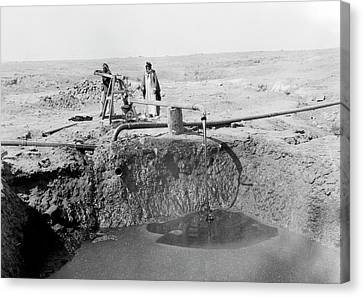 Iraq Canvas Print - Bitumen Well In Iraq by Library Of Congress
