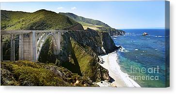 Bridge On Highway One Canvas Print - Bixby Bridge Near Big Sur On Highway One In California by Artist and Photographer Laura Wrede