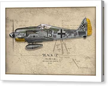 Black 13 Focke-wulf Fw 190 - Map Background Canvas Print by Craig Tinder