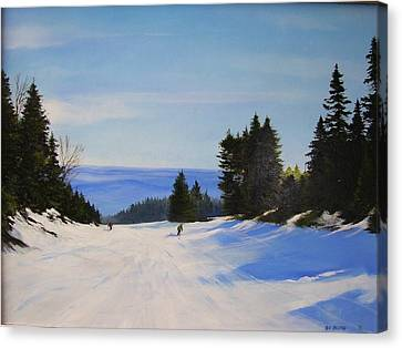 Canvas Print featuring the painting Black And Blue by Ken Ahlering
