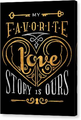 Black And Gold Love Story Canvas Print by South Social Studio