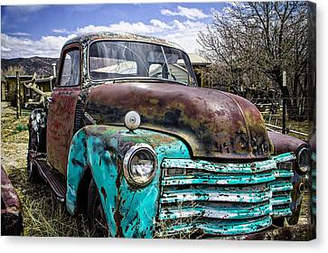 Turquoise And Rust Canvas Print - Black And Turquoise Chevy Truck by Steven Bateson