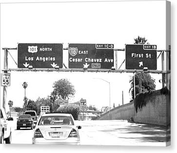 Canvas Print featuring the photograph Black And White Abstract City Photography...l.a. Freeway by Amy Giacomelli