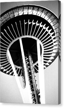 Canvas Print featuring the photograph Black And White Abstract City Photography...space Needle by Amy Giacomelli