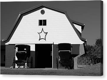 Black And White Amish Buggies And Barn Canvas Print by Dan Sproul