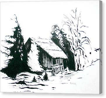 Black And White Barn In Snow Canvas Print by Joyce Gebauer