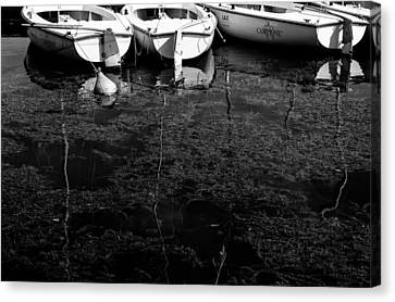 Black And White Boats Canvas Print by Pati Photography