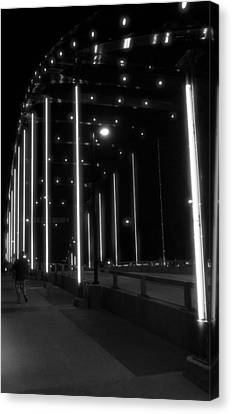 Black And White Bridge At Night Canvas Print by Dan Sproul