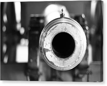 Black And White Cannon Canvas Print by Dan Sproul