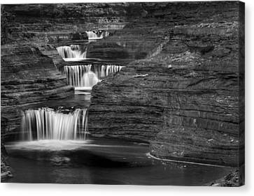 Black And White Cascade Canvas Print by Bill Wakeley