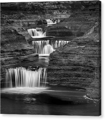 Black And White Cascade Square Canvas Print by Bill Wakeley