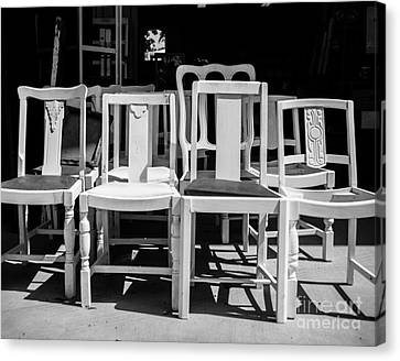 Black And White Chairs Canvas Print by Sonja Quintero