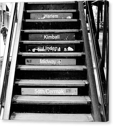 Black And White Chicago L Stairs Canvas Print by Anthony Doudt