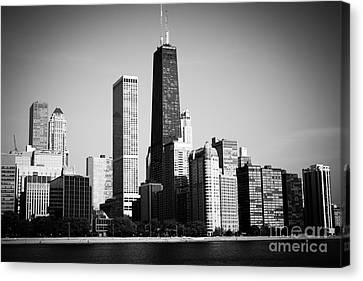 Black And White Chicago Skyline With Hancock Building Canvas Print by Paul Velgos