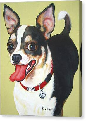 Black And White Chihuahua Canvas Print by Rebecca Korpita