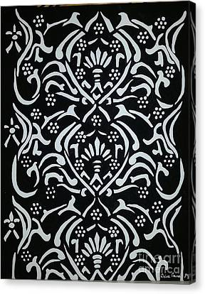 Black And White Classic Damask Canvas Print by Debra Acevedo