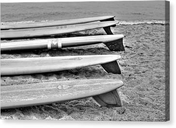 Black And White Classic Surfboards Canvas Print